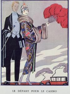 Leaving For the Casino. Illustration For La Gazette du Bon Ton, 1923 by Georges Barbier