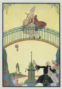 Love on the Bridge, Illustration for 'Fetes Galantes' by Paul Verlaine (1844-96) 1928 by Georges Barbier