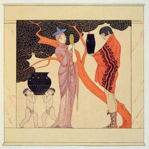 Love Token (W/C on Paper) by Georges Barbier