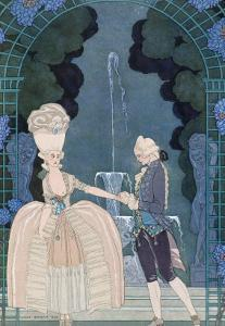Love under the Fountain, Illustration For Fetes Galantes by Paul Verlaine by Georges Barbier