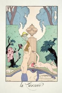 Lust, from 'Falbalas and Fanfreluches, Almanach des Modes Présentes, Passées et Futures', 1925 by Georges Barbier