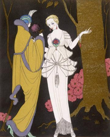 Mantle with a Yoke Voluminous Sleeves and Fur Trim and Close Fitting Hat with Aigrette by Georges Barbier