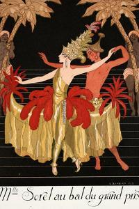 Mlle Sorel at the Grand Prix Ball by Georges Barbier
