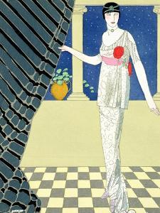 My Guests Have Not Arrived, Illustration of a Woman in a Dress by Redfern by Georges Barbier