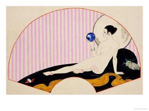 Odalisque with a Crystal Ball, Dated 1920 by Georges Barbier