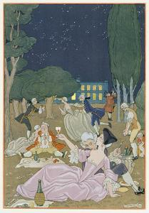 On the Lawn, Illustration for 'Fetes Galantes' by Paul Verlaine (1844-96) 1923 (Pochoir Print) by Georges Barbier