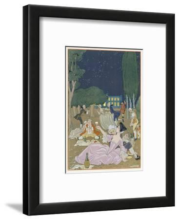 On the Lawn, Illustration for 'Fetes Galantes' by Paul Verlaine (1844-96) 1923 (Pochoir Print)