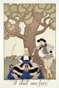 Once Upon a Time, from 'Falbalas and Fanfreluches, Almanach des Modes Présentes, Passées et… by Georges Barbier