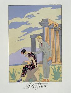 Paestum, 1924 (Pochoir Print) by Georges Barbier