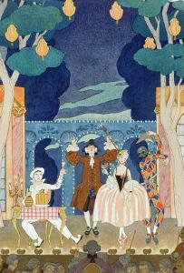 """Pantomime Stage, Illustration for """"Fetes Galantes"""" by Paul Verlaine 1924 by Georges Barbier"""
