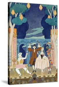 "Pantomime Stage, Illustration for ""Fetes Galantes"" by Paul Verlaine 1924 by Georges Barbier"