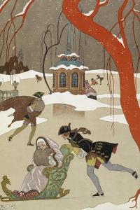 People Ice Skating by Georges Barbier