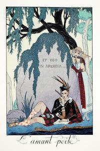 Poet Lover, from 'Falbalas and Fanfreluches, Almanach des Modes Présentes, Passées et Futures',… by Georges Barbier