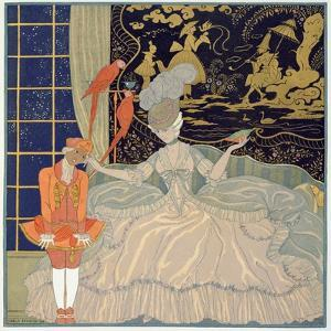 Punishing the Page (Colour Litho) by Georges Barbier