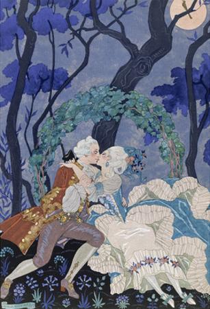 Secret Kiss, Illustration for 'Fetes Galantes' by Paul Verlaine (1844-96) 1928 (Pochoir Print)