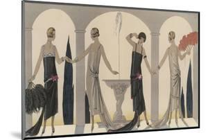 Sensually Draped Dresses with Narrow Beaded Straps Square Necklines and Detailing Over One Hip by Georges Barbier
