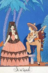 Serenade, from 'Falbalas and Fanfreluches, Almanach Des Modes Présentes, Passées Et Futures', 1924 by Georges Barbier