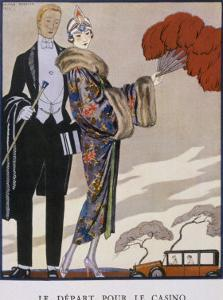She Wears an Evening Coat by Worth: Oriental Cherry Blossom with Wide Full Sleeves by Georges Barbier