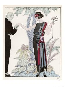 Sleeveless Slash Neck Chinese or Orientally Inspired Black Dress by Worth with Red Tassel Detail by Georges Barbier