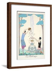 Spring, from 'Falbalas and Fanfreluches, Almanach des Modes Présentes, Passées et Futures', 1926 by Georges Barbier