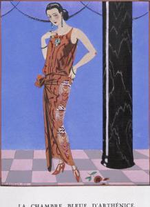 T-Bar Shoes and a Sleeveless Drop-Waist Dress with Sash Tie by Georges Barbier