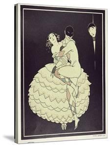 Tamara Karsavina (1885-1978) as Columbine and Vaslav Nijinsky (1890-1950) a by Georges Barbier