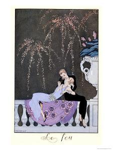 """The Fire, Illustration for """"Fetes Galantes"""" by Paul Verlaine 1924 by Georges Barbier"""