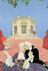 """The Indolents, Illustration for """"Fetes Galantes"""" by Paul Verlaine 1928 by Georges Barbier"""