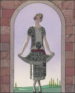 Tunic Dress by Worth in an Ornate Monochrome Print with Red Detailing Plain Central Panel by Georges Barbier