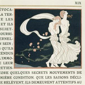 Two Girls Dressed in Greek Style, Illustration from 'Les Mythes' by Paul Valery (1871-1945) by Georges Barbier