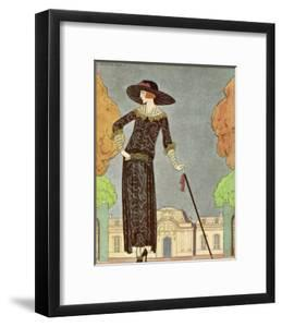 Two-Piece Barrel-Line Dress by Beer with Button Front Deep Cuffs En Bouffants Vandyked Collar by Georges Barbier