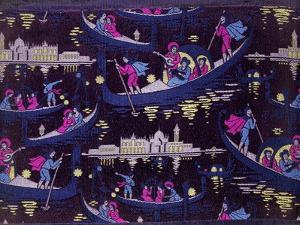 Venise, Fete De Nuit Furnishing Fabric, Woven Silk, France, c.1921 by Georges Barbier