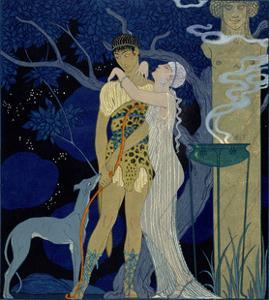 Venus and Adonis by Georges Barbier