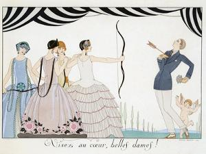Visez Au Coeur, Belles Dames!, by H. Reidel, 1924 (Pochoir Print) by Georges Barbier