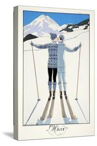 Winter, from 'Falbalas and Fanfreluches, Almanach des Modes Présentes, Passées et Futures', 1926 by Georges Barbier