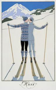 "Winter: Lovers in the Snow, Fashion Plate from ""Twentieth Century France,"" 1925 by Georges Barbier"