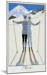 """Winter: Lovers in the Snow, Fashion Plate from """"Twentieth Century France,"""" 1925 by Georges Barbier"""