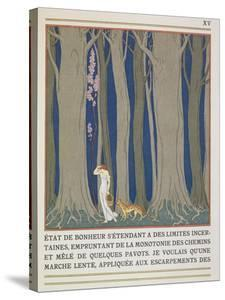 Woman Followed by a Leopard, Illustration from 'Les Mythes' by Paul Valery (1871-1945) by Georges Barbier