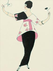 Woman Holding Flowers by Georges Barbier