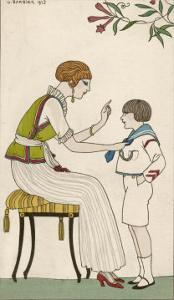 Woman: Narrow Pleated Skirt, Japonaise Silk Blouse, Short Sleevless Tunic and Sash by Georges Barbier