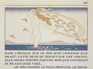 Woman Wading Through Water, Illustration from 'Les Mythes' by Paul Valery (1871-1945) by Georges Barbier