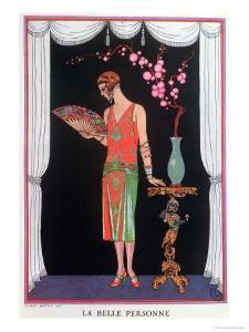 Worth Evening Dress, Fashion Plate from Gazette Du Bon Ton, 1925 by Georges Barbier