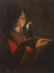 Boy with a Pipe Blowing the Candle by Georges de La Tour