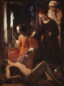 Die Hl, Irene Pflegt Den Hl, Sebastian by Georges de La Tour