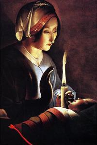 St Anne with the Christ Child by La Tour by Georges de La Tour