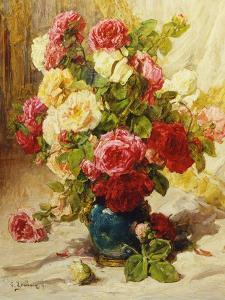 Still Life of Roses in a Vase by Georges Jeannin