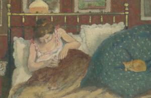 Au lit, dit aussi La femme au chat by Georges Lemmen