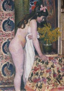 Nude Smelling the Flowers, Nu Sens Les Fleurs by Georges Lemmen