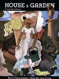House & Garden Cover - March 1934 by Georges Lepape
