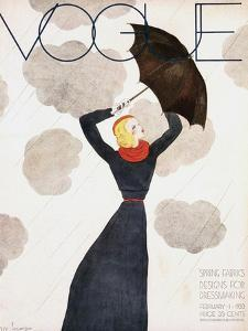 Vogue Cover - February 1933 - Umbrella Weather by Georges Lepape
